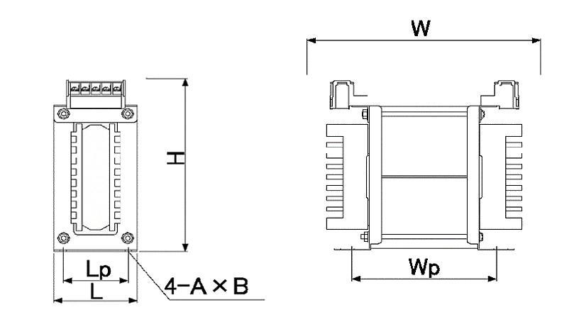 省エネトランスの外形図