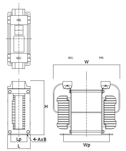 省エネトランスの外形図 縦型 2kV/2.5kV