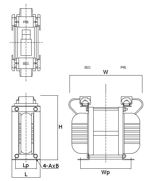 省エネトランスの外形図 縦型 3kV~