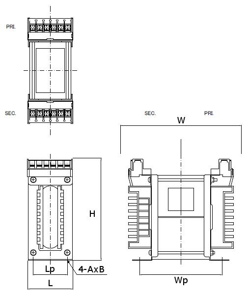 省エネトランスの外形図 縦型 100V~1.5kV