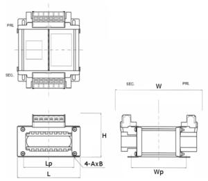 省エネトランスの外形図 横型