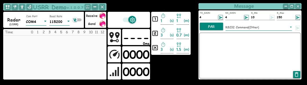 ミリ波センサ デモ機ソフト画面